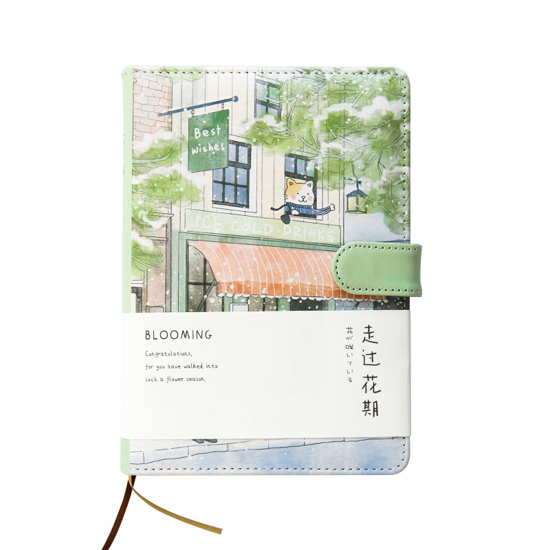 Creative agenda romance cherry blossom notebook illustration grid hand painted school Notebook Book Office School Supplies Gift