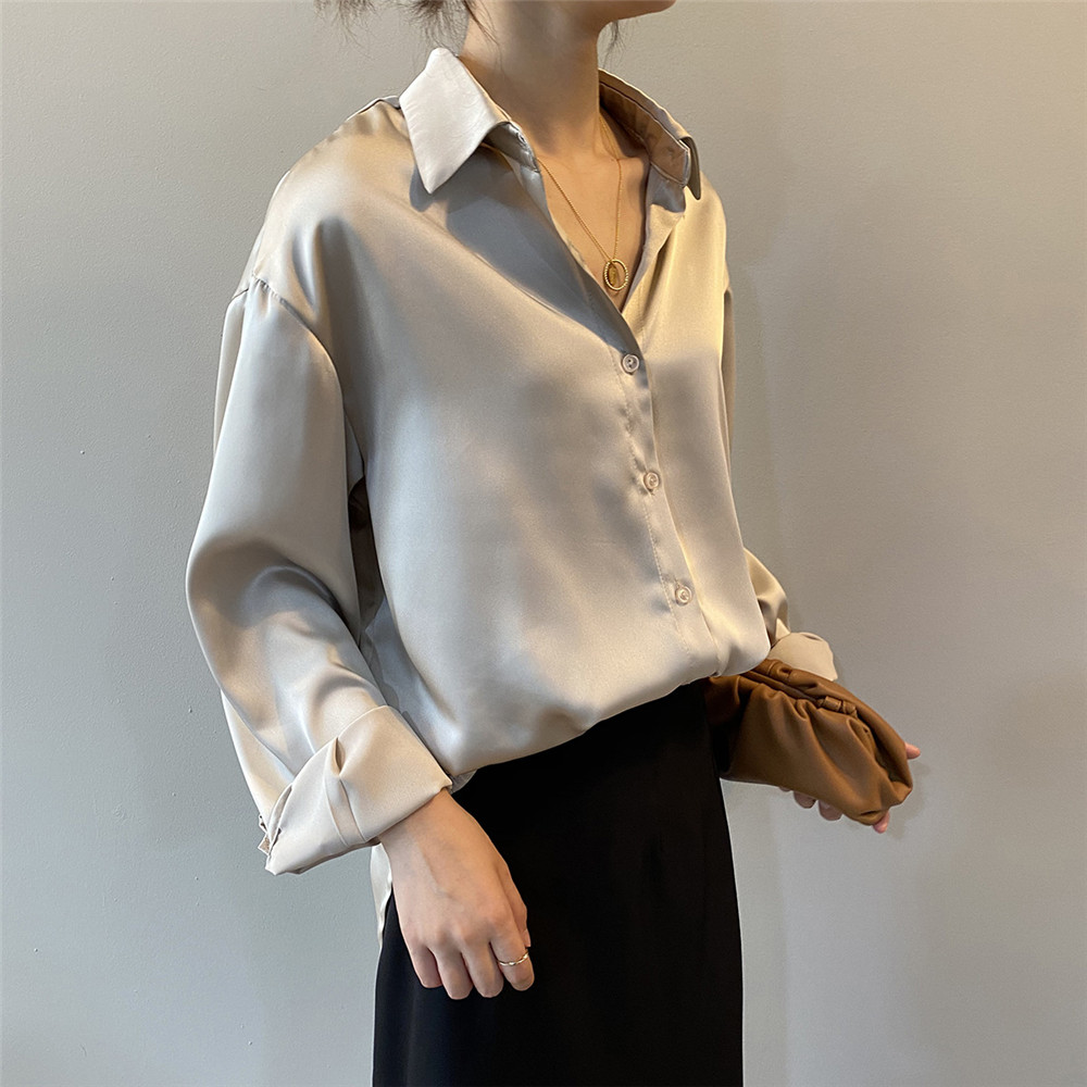 High quality Women Silk Satin Blouse 2020 Summer Women Satin Blouses Shirt Office Long Sleeves Femme V Neck Loose Street Shirts (17)
