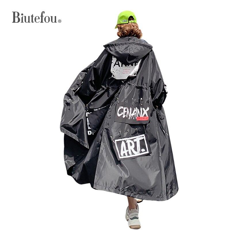 2019 automne mode patch designs longs manteaux pin décoration femmes chic lâche Trench