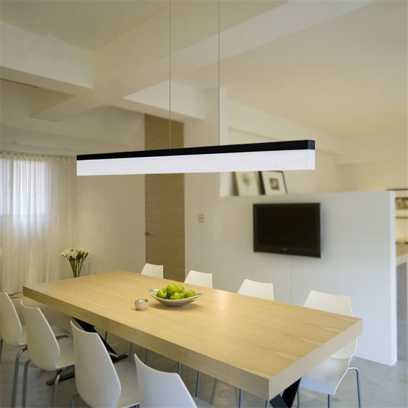 Nordic LED Minimalist Pendant Lights Living Room Modern Long Strip Restaurant Office Hanglamp Creative Dining Room Hanging Lamp