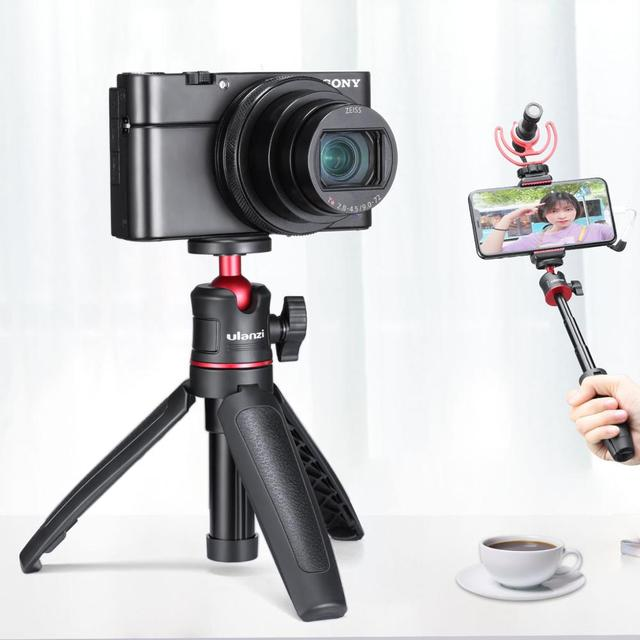 Ulanzi MT 08 שולחני הארכת חצובה נייד וידאו ערכת w מיקרופון אור ידית Rig Selfie מקל עבור Smartphone DSLR מצלמה Vlogging