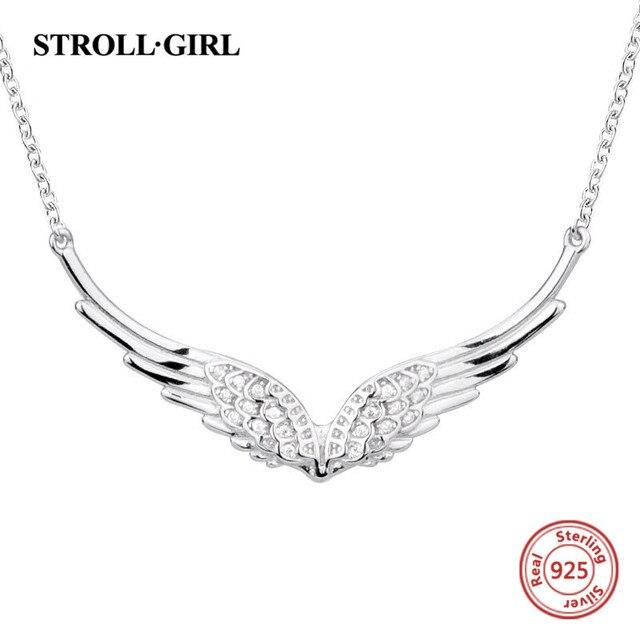 StrollGirl جديد 925 فضة الجناح من الملاك قلادة ريشة سلسلة craft بها بنفسك الحرفية مجوهرات الأزياء للنساء 2019 هدايا الزفاف