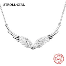 StrollGirl New 925 Sterling silver wing of angel necklace feather chain diy craft fashion jewelry for Women 2019 Wedding gifts