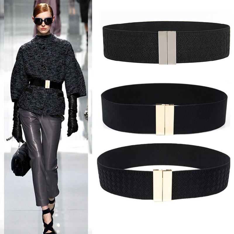 Wide Elastic Belt Dress Stretch Waist Belt Women Dress Accessories Waistband Corset Waist Metal Buckle