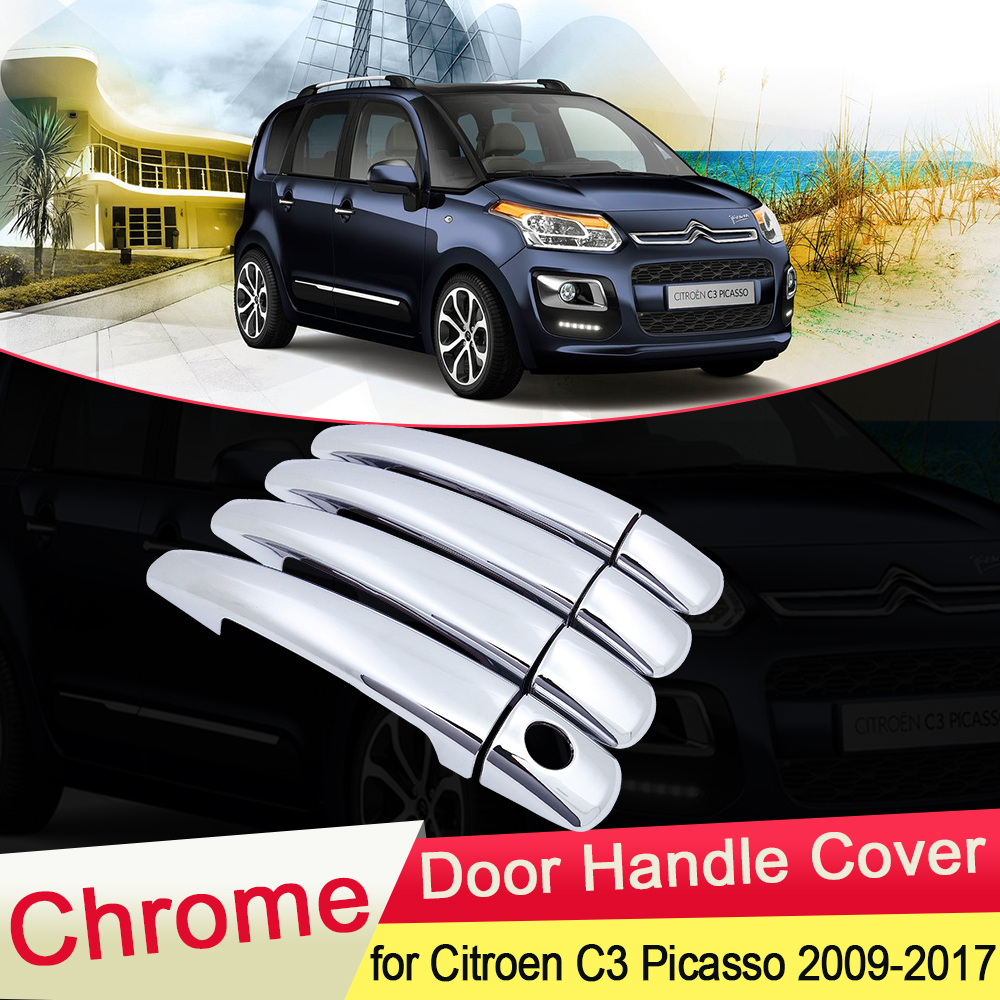 For Citroen C3 Picasso 2009 2010 2011 2012 2013 2014 2015 2016 2017 Chrome Door Handle Cover Trim Car Set Styling Accessories