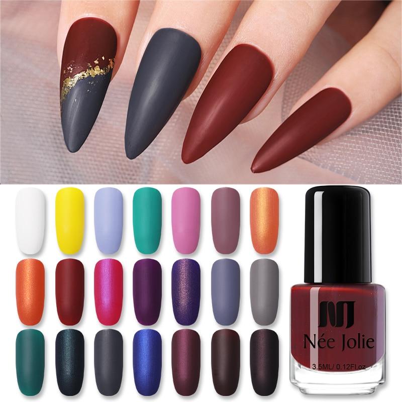 NEE JOLIE 3.5ml Nail Art Polish Matting Effect  Pink White Yellow Colorful Nail Art Oily Polish For Nail DIY Beauty Tools