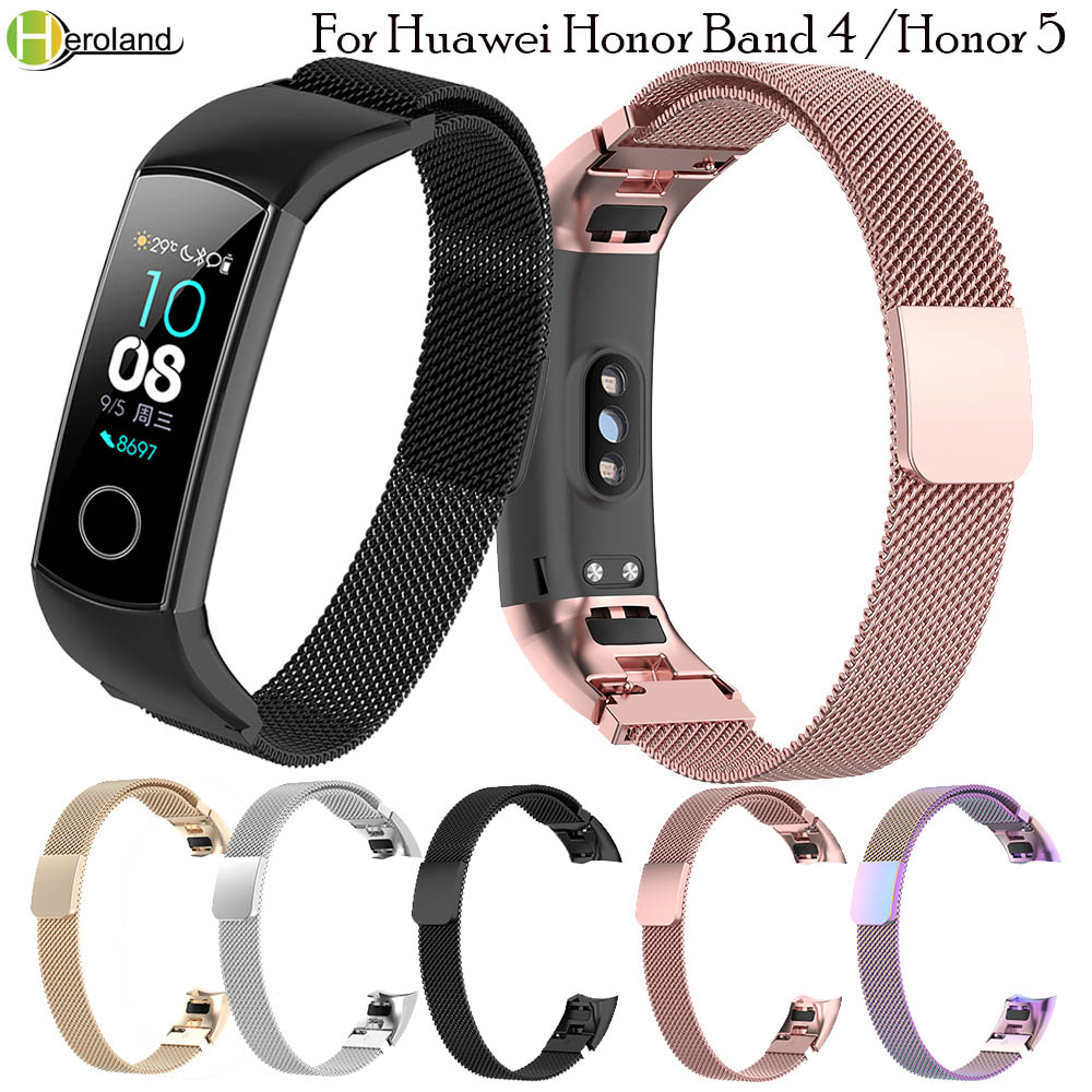 Magnetic Milanese Stainless Steel Wrist Strap For Original Huawei Honor Band 4/5 Smart Watch Wristband Sport Bracelet Watch Band