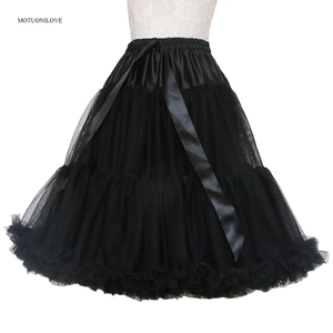 Image 1 - Lolita Petticoat Woman Short Underskirt Rockabilly Ruffle Tulle Black White Red Stock Puffy Tutu Skirt Cosplay Cocktail Dress