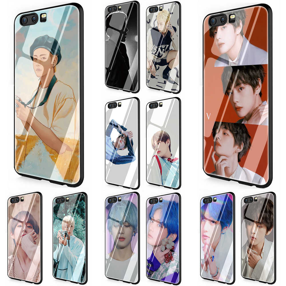Kim V Taehyung Transparant Gehard Glas Telefoon Cover Case voor Huawei Y6 Y9 Honor 8X 7A 9 10 P10 P20 p30 Mate 20 Lite Pro