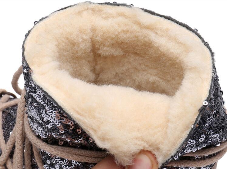 De niños de cuero genuino botas de nieve de invierno de 2019 niñas de lentejuelas zapatos de algodón chico Barco de bebé de terciopelo de algodón cálido botas - 6
