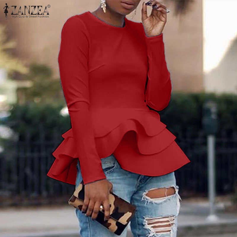 ZANZEA 2020 Spring Long Sleeve Blouse Women O Neck Ruffles Hem Shirt Femininas OL Work Top Tunic Chemise Casual Flounce Blusas