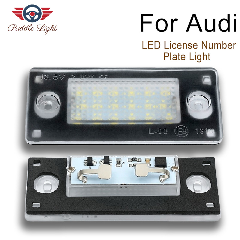 2Pcs Car LED License Number Plate Light Lamp For <font><b>AUDI</b></font> <font><b>A4</b></font> S4 avant RS4 <font><b>B5</b></font> A3 1998 <font><b>1999</b></font> 2000 2001 2002 2003 image
