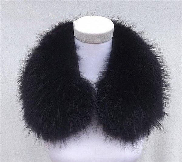 Женский шарф теплый подарок из меха енота ожерелья для куртки шарфы Banand Schal теплый натуральный зимний меховой шарф для женщин - Цвет: Black