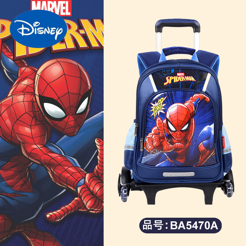Authentic Disney Marvel Captain America Spider-Man Children's Schoolbag Elementary School Trolley Roller Schoolbag  Backpack
