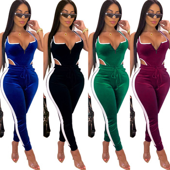 Clothes Vendors for Women Explosion Sleeveless Hollow Zipper Backless Splicing  2 Piece Set Jumpsuits Suit Two