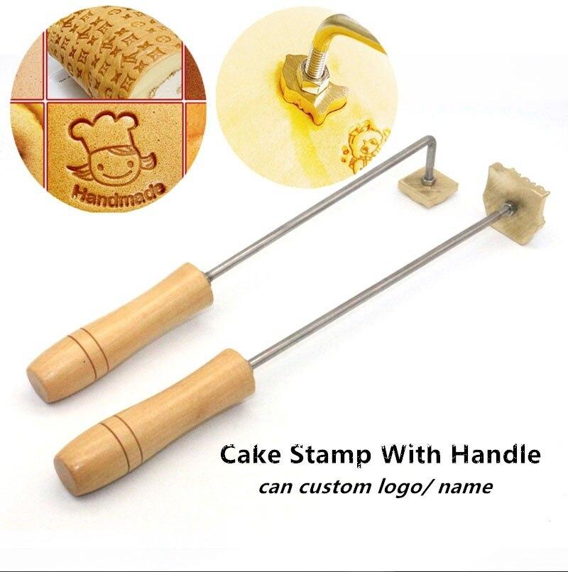 Логотип торта, латунная форма, ручка, набор, огнеупорный медный штамп, горячая печать, дерево, кожа, хлеб, хлеб, хамбергер, говядина, брендовая...
