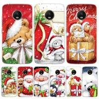 Funda de teléfono de silicona con diseño de oso feliz de Navidad, para Motorola Moto G8, G7, G9, G6, G5S, G5, G4, E6, E5, E4 Plus, Play Power + One Action