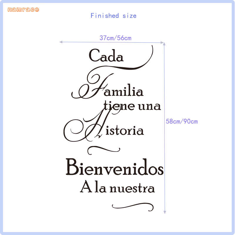 Spanish Family Quotes Stickers For Every Family Have A Story Vinyl Wall Stickers Mural Poster Home Decor House Decoration Sz 061 Wall Stickers Aliexpress