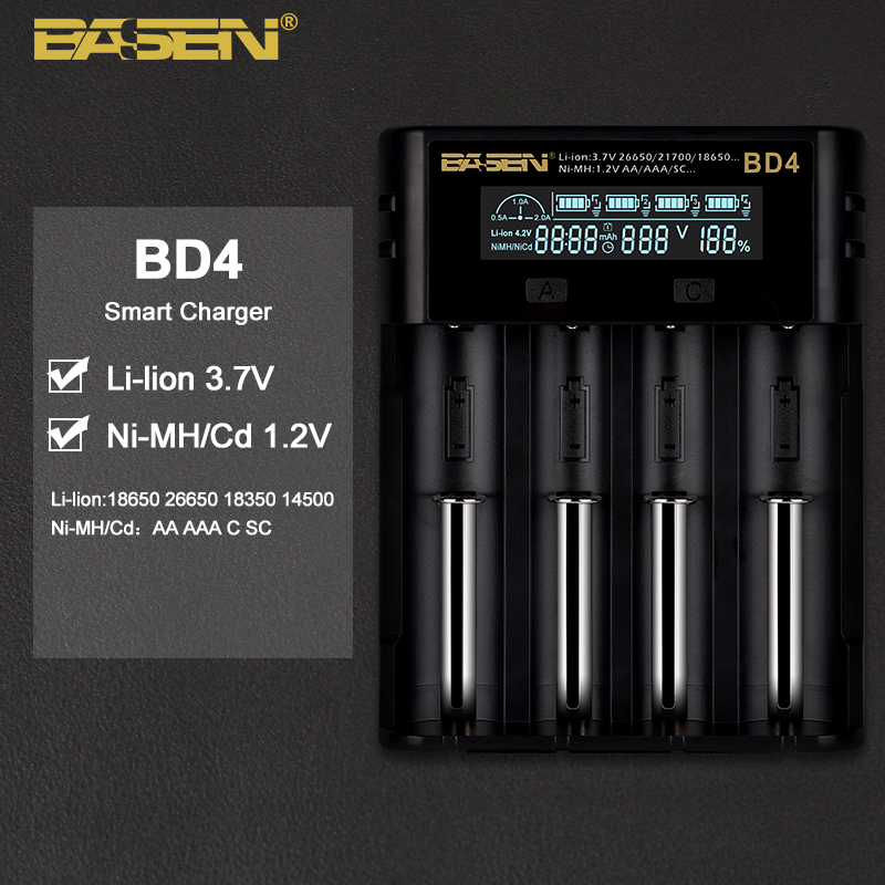 Lcd-Battery-Charger AA 18350 21700 26650 BASEN for 26650/21700/18350/.. Nimh BD4