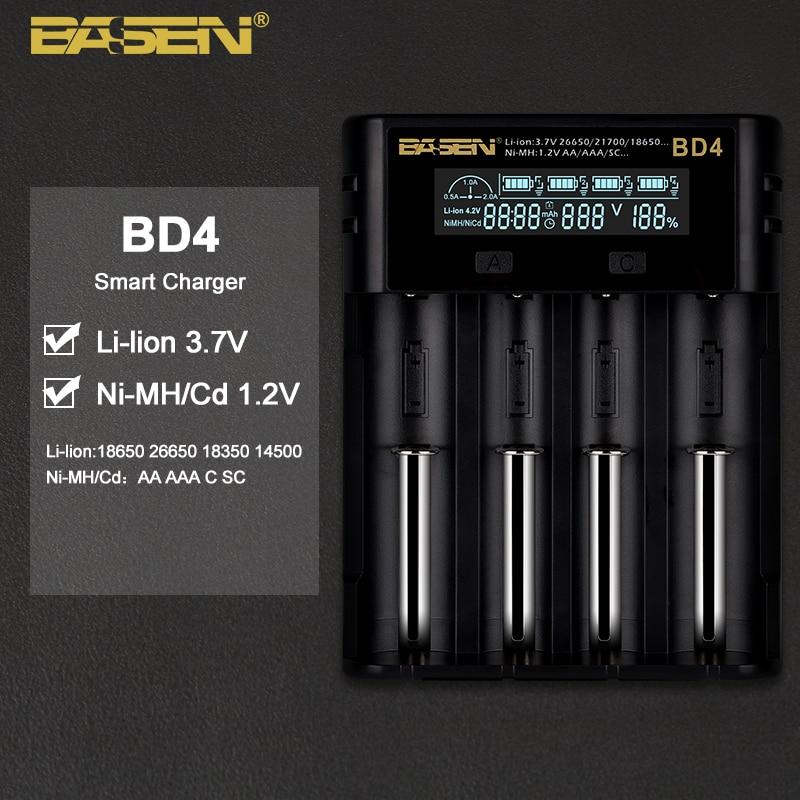 BASEN BD4 LCD Battery Charger For 18650 26650 21700 18350 AA AAA 3.7V/3.2V/1.2V NiMH Battery 18650 Smart Charger