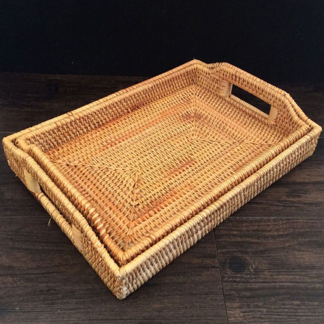 2x Cutlery Tray Kitchen Tissue Rattan Storage Tray Fruit Plate Basket Candy Snacks Pastry Sun Dried Fish Dishes