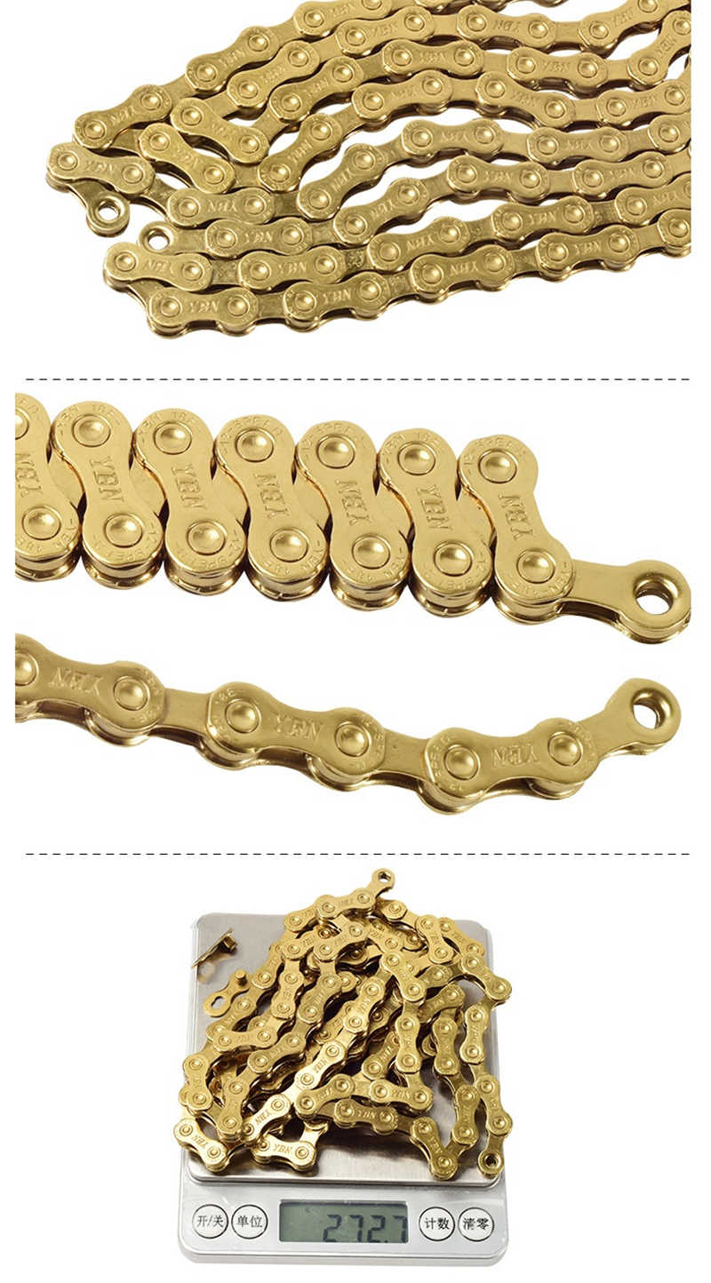 Gold New YBN Lightweight 12 Speed Bike Bicycle Chain with Hollow Pin Road MTB