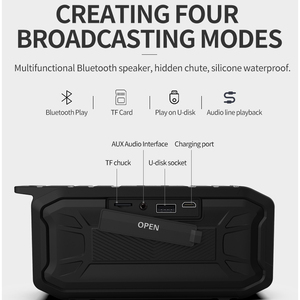 Image 5 - 방수 블루투스 스피커 휴대용베이스 서브 우퍼 야외 USB 스피커 Fm 라디오 AUX TF 미니 음악 붐 박스 라우드 스피커 오르골 블루투스스피커