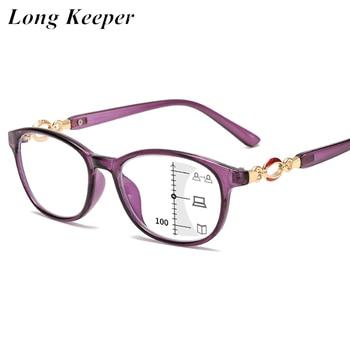New Fashion Progressive Multifocal Reading Glasses Women Anti-blue Light Eyeglasses Prescription Spectacles Diopter +1.0to+4.0