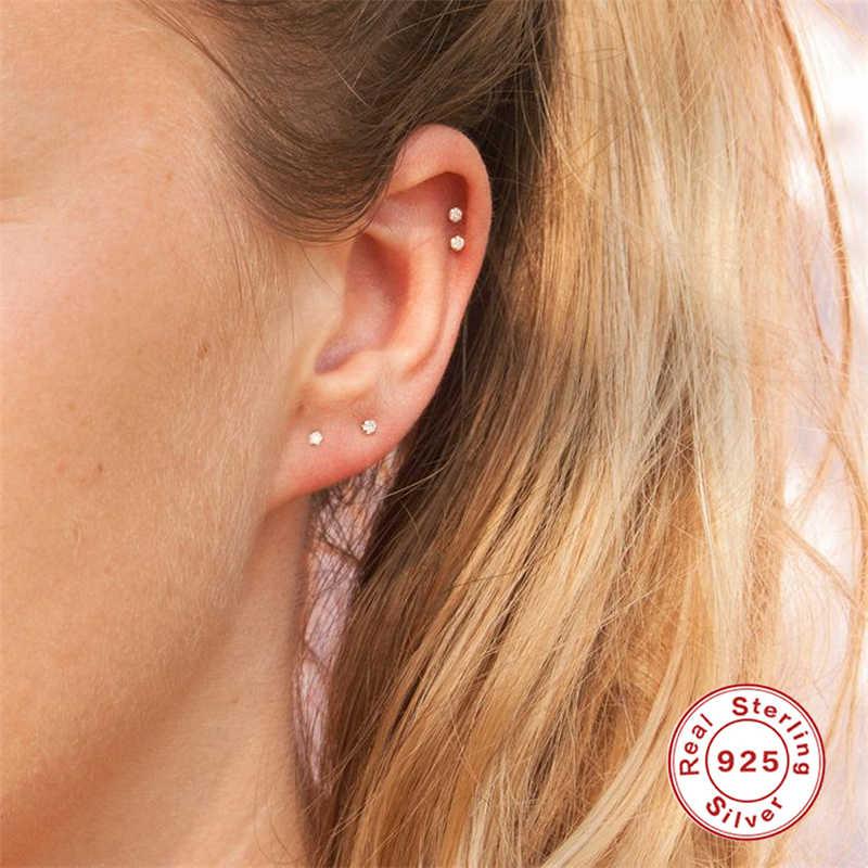 Nueva llegada pendientes de 100% Plata de Ley 925 para mujer Mini zirconia cristal pequeño pendientes de joyería para mujer