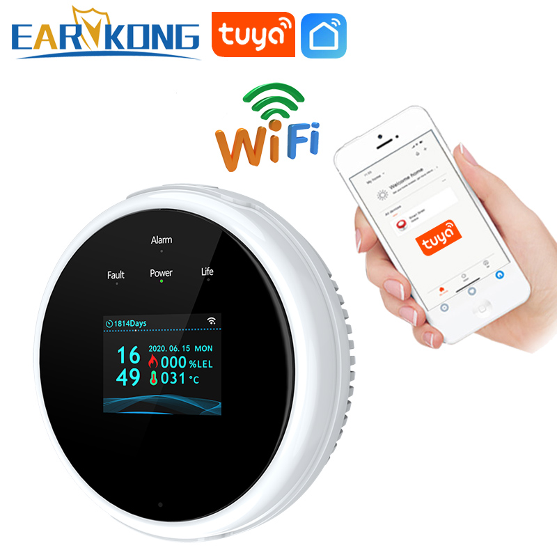 EARYKONG Wifi датчик природного газа горючий бытовой умный LPG детектор газа датчик утечки Wifi температурные детекторы