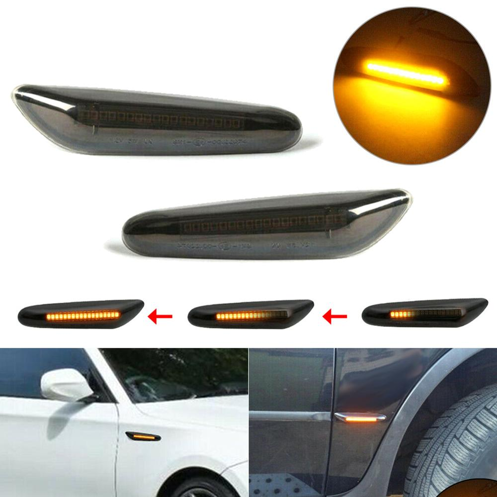 2PCS Smoke Lens Dynamic Flowing LED Turn Signal Side Marker Light Blinker Lamp For BMW E90 E91 E92 E93 E46 E60 E82