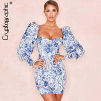 Cryptographic Fashion Print Puff Sleeve Slim Dresses Women Square Collar Casual Long Sleeve Mini Dress Sexy Clubwear 2019 Autumn