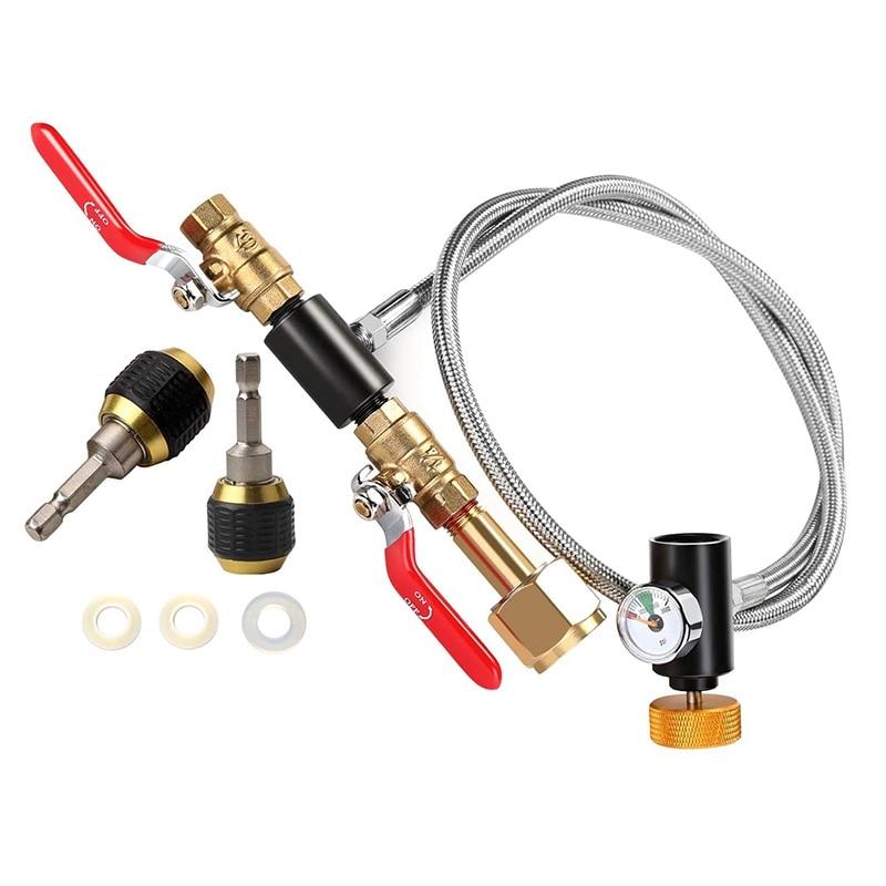 Hot 1 Set CGA320 G1/2 CO2 Cylinder Replenishment Adapter & 2Pcs Hexagon Shank Quick Coupling-3.9X2X2 Inch Adapter