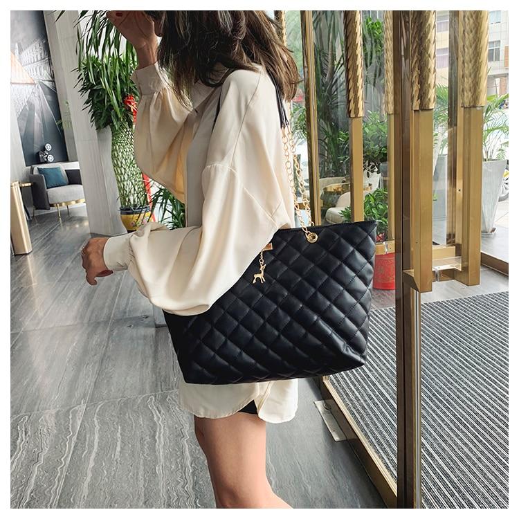 Women Handbag PU Leather 2020 Designer Brand Luxury Chain Shoulder Messenge Crossbody bag Large Capacity Office Lady Bag 8