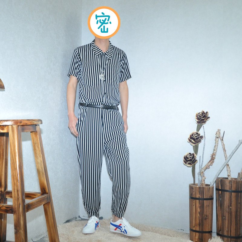 Spring And Summer Thin Section Loose Casual Lapel Jumpsuit Tide Men Vacation Stripe Feet Jumpsuit Hip-hop Cropped Pants