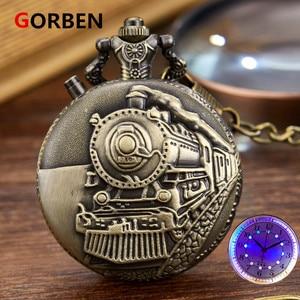 Luminous LED Flash Necklace Hour Vintage Clock Unique Bronze/Silver/Gold Train Locomotive Engine Noctilucent Quartz Pocket Watch