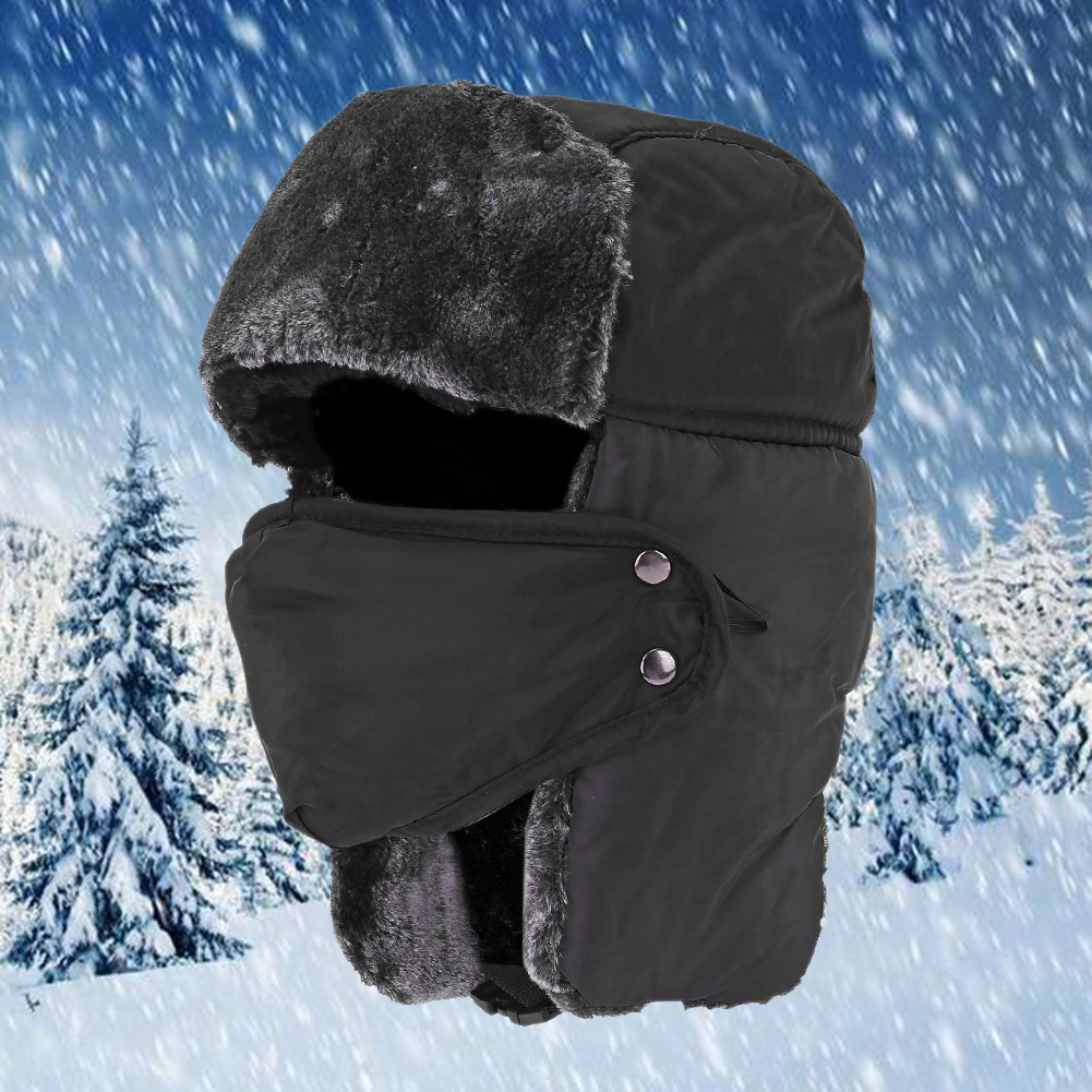 Unisex Faux Fur Snow Caps Winter Trooper Adjustable Chin Strap Windproof Ear Flap Outdoor Hiking Bomber Hat Face Mask Keep Warm