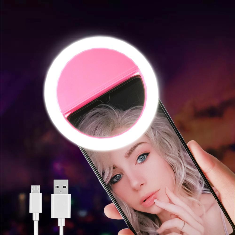 Светодиодное кольцо для селфи с светильник Новинка макияж светильник ы Светодиодная лампа для селфи мобильные телефоны фото ночной светил...