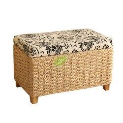 Rattanowy stołek do przechowywania wielofunkcyjny rama z litego drewna może siedzieć ludzie rattanowe meble z wikliny ochrona środowiska łożysko 150KG