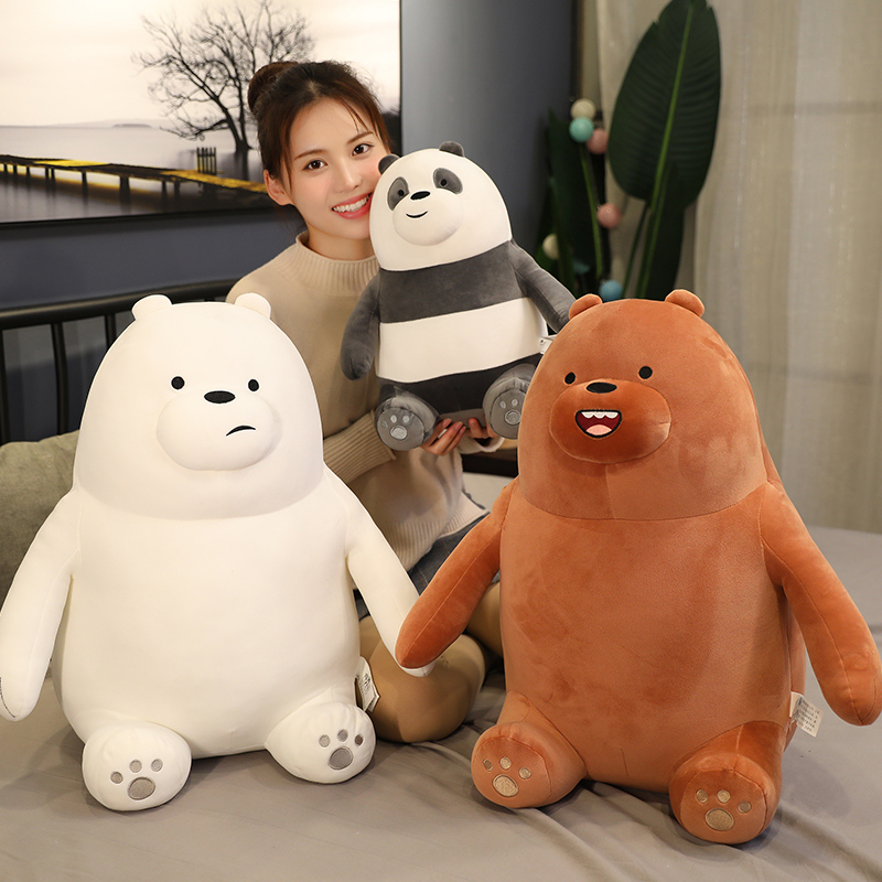 1pcs Anime Periphery The Three Bare Bears Plush Toy Soft  Grizzly Ice Bear Stuffed Toy Cartoon Bear Sofa Cushion Gift Children