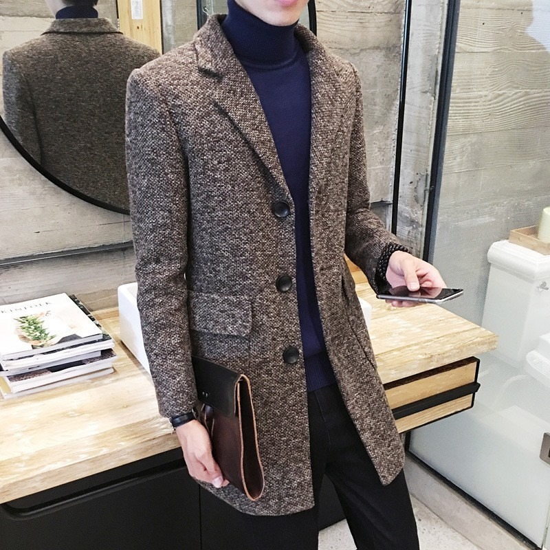 Autumn Winter Mens Mid Long Wool Blends Coat Fashion Preppy Style Trench Single Breasted Korean Slim Fit Windbreakers Overcoat