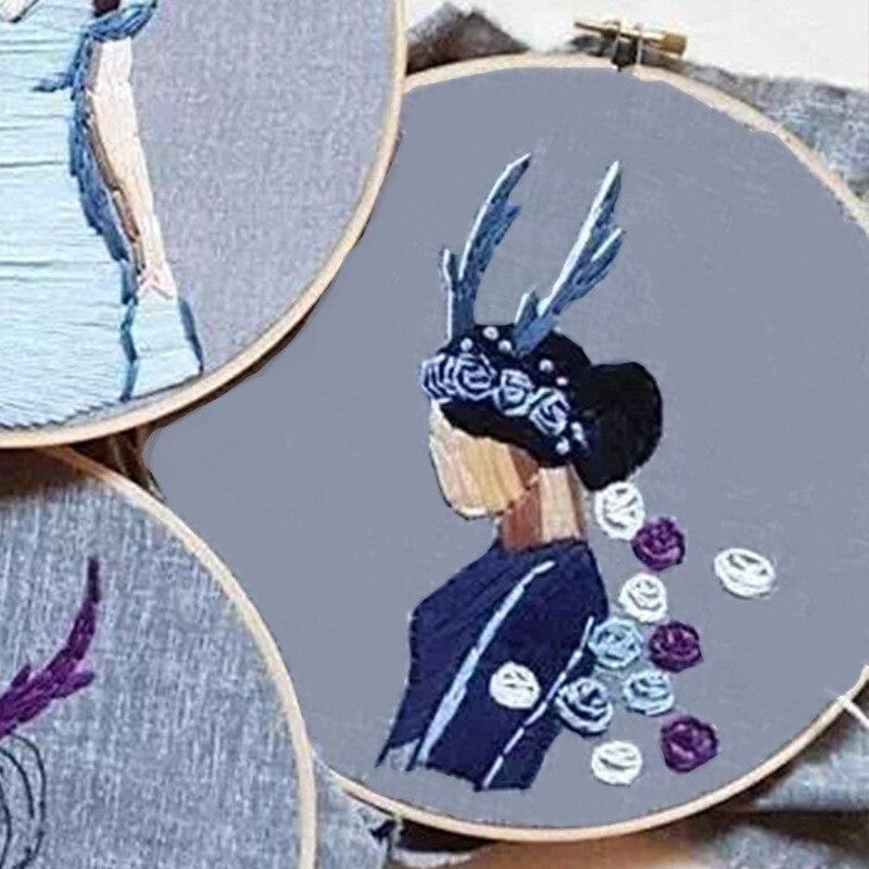 20cm DIY Ribbon Embroidery Set for Beginner Needlework Kits Fresh flowers Cross Stitch Series Needle Arts Crafts Sewing Decor