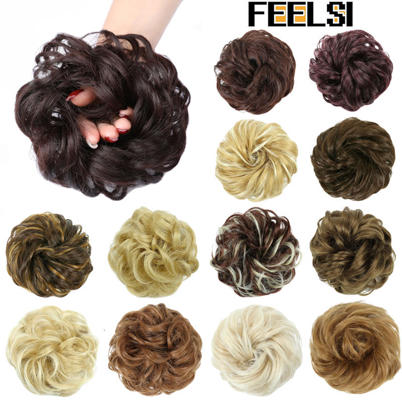 FEELSI Women's Curly Chignon With Elastic Rubber Band Synthetic Scrunchie Wrap Hair Messy Bun Hairpieces