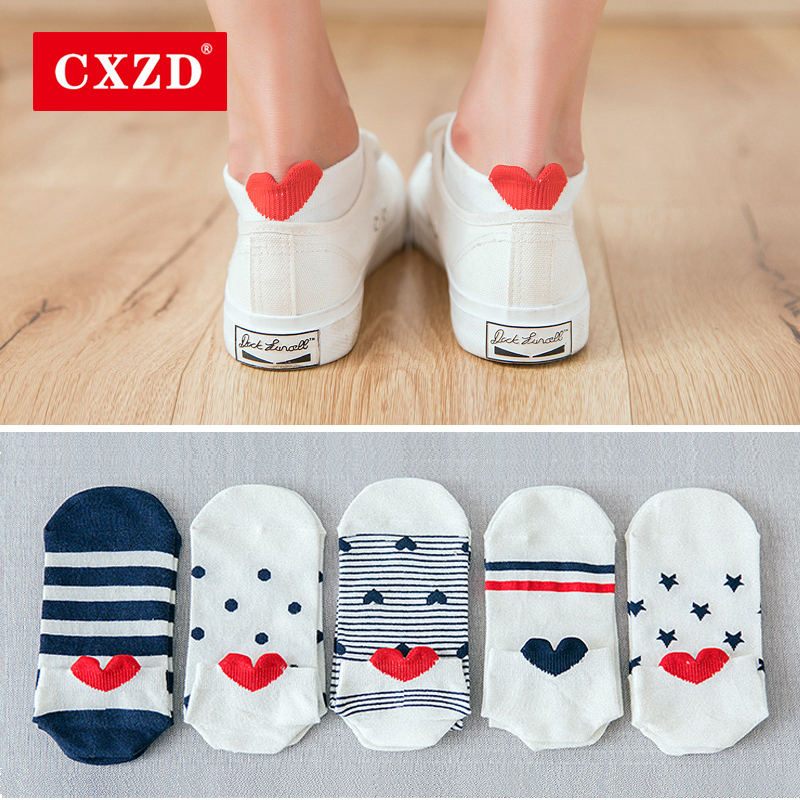 CXZD 5Pairs New Arrival Women Cotton Socks Pink Cute Cat Ankle Socks Short Socks Casual Animal Ear Red Heart Gril Socks 35-40