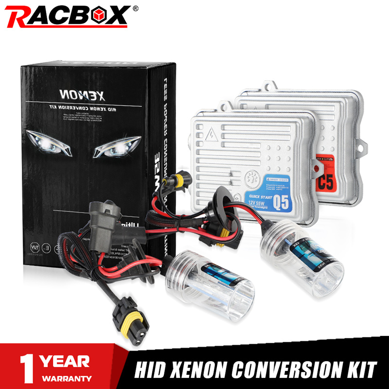 RACBOX AC 55W Quick Start/Canbus Ballast HID Xenon Conversion Headlight Kit 12V H1 H3 H7 H11 9005 HB3 9006 HB4 4300K 6000K 8000K