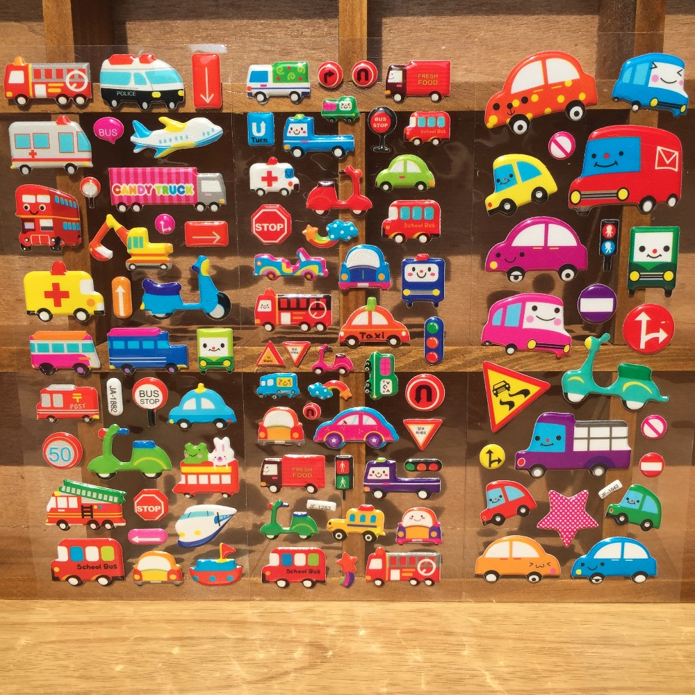 6/9pcs/lot Cartoon Car Transport Sticker 3D Bubble Stickers Truck Bubble Toy For Kids Home Diary Notebook Label Girl Boy Toy