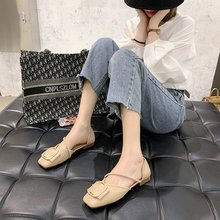 Summer 2020 new square head shallow mouth single shoes womens fashion wild fairy style metal buckle foot Z926