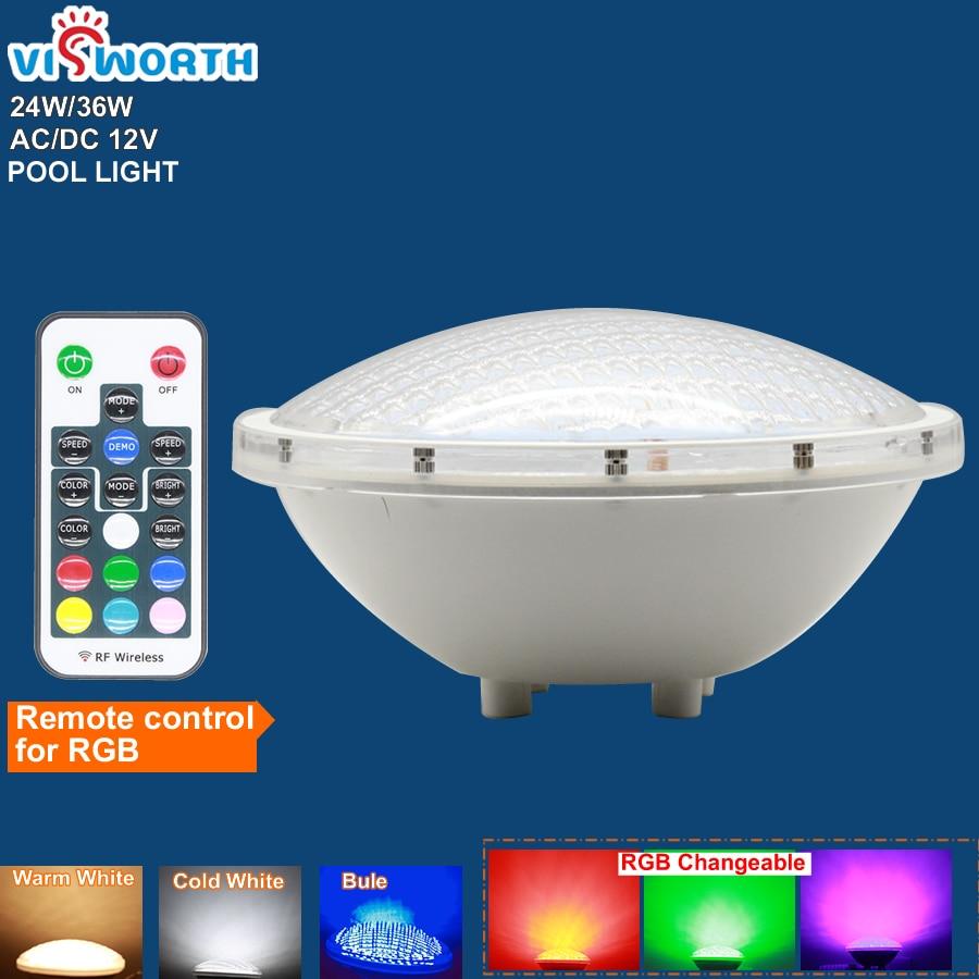 Par56 Underwater Lights 24W36W LED Swimming Pool Light Resin Filled Piscina Wall Mounted FocoPool Lamp IP68 12V Waterproof Light