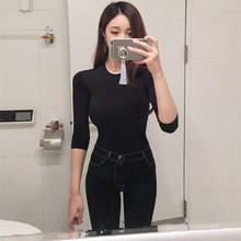 2019 Korean style comfortable slim bottoming Slim thin T-shirt  O-Neck  Regular  Regular  Knitted цена
