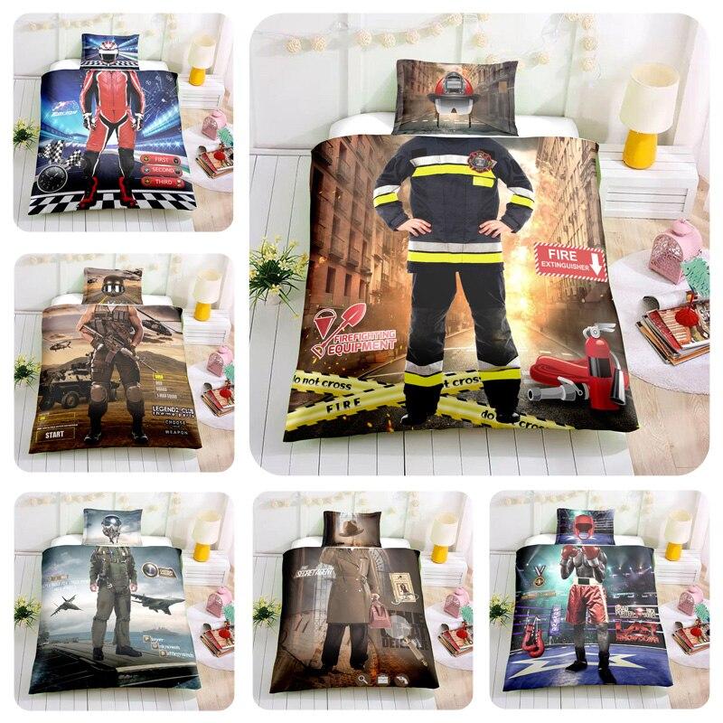 3D Bedding Sets Pilot Boxer Racer Commando Firefighter Detective Child Dream Bedding Sets